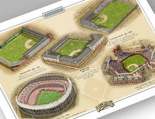 Thumbnail of 13x19 print featuring all 5 major Philadelphia ballparks.