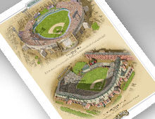 Thumbnail of 13x19 print featuring Memorial Stadium and Oriole Park at Camden Yards
