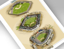 "Thumbnail of 13"" x 19"" print featuring all 3 major Chicago AL ballparks"