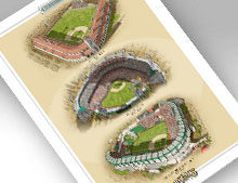 Thumbnail showing 13x19 print of all three LA Angels ballparks.