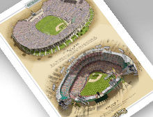 Thumbnail of print featuring LA Coliseum and Dodger Stadium