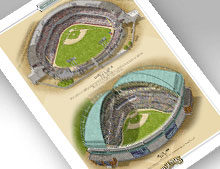 Thumbnail showing 13x19 print of both Milwaukee ballparks.