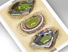 Thumbnail showing 13x19 print of all three NY Mets ballparks.